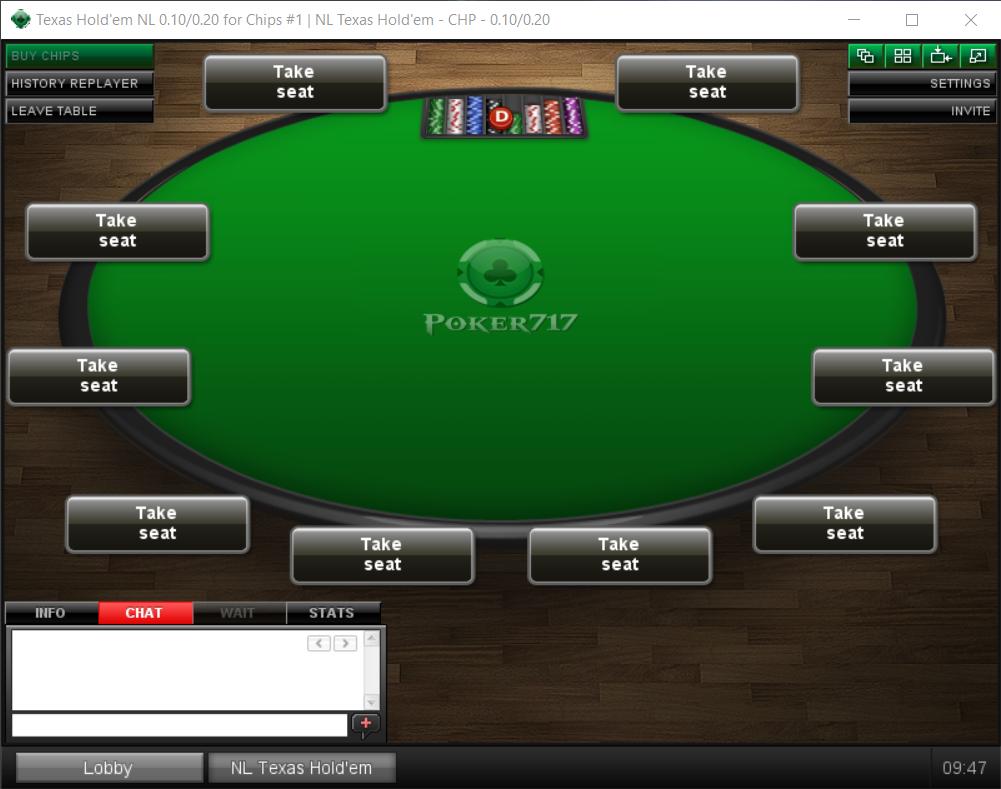 Игровой стол в израильском онлайн-руме Poker717.