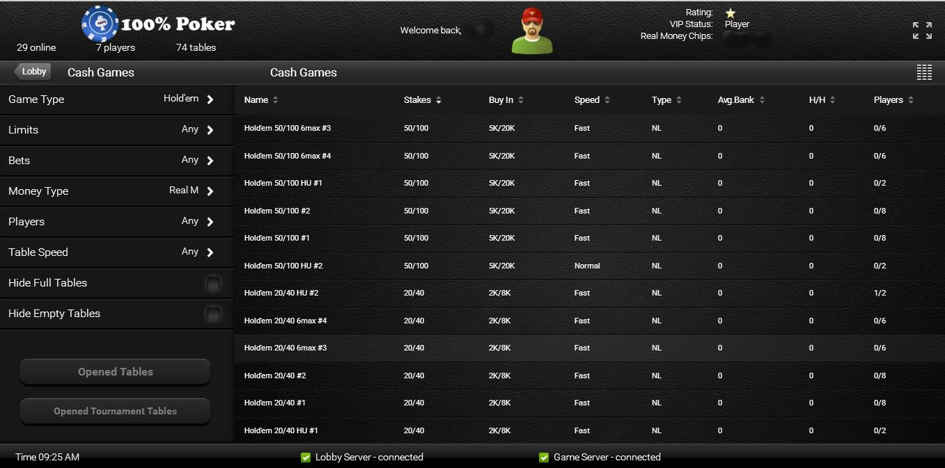 Игровое лобби в израильском онлайн-руме Poker100.